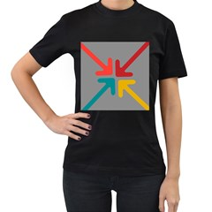 Arrows Center Inside Middle Women s T Shirt (black) (two Sided)