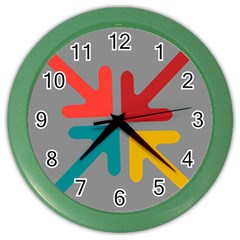 Arrows Center Inside Middle Color Wall Clocks