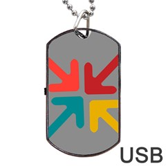 Arrows Center Inside Middle Dog Tag Usb Flash (one Side)