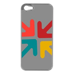 Arrows Center Inside Middle Apple iPhone 5 Case (Silver)