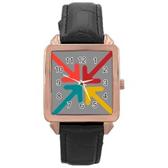 Arrows Center Inside Middle Rose Gold Leather Watch