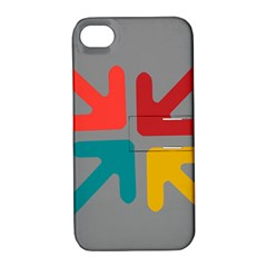 Arrows Center Inside Middle Apple Iphone 4/4s Hardshell Case With Stand