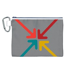 Arrows Center Inside Middle Canvas Cosmetic Bag (l)