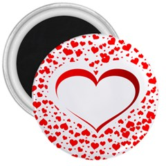 Love Red Hearth 3  Magnets