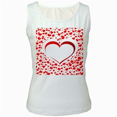 Love Red Hearth Women s White Tank Top
