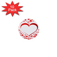 Love Red Hearth 1  Mini Buttons (10 pack)