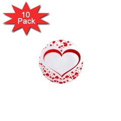 Love Red Hearth 1  Mini Magnet (10 Pack)