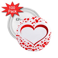 Love Red Hearth 2 25  Buttons (100 Pack)