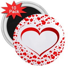 Love Red Hearth 3  Magnets (10 Pack)