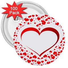 Love Red Hearth 3  Buttons (100 Pack)