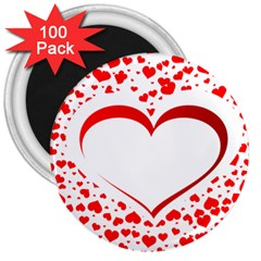 Love Red Hearth 3  Magnets (100 Pack)