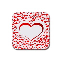 Love Red Hearth Rubber Square Coaster (4 Pack)