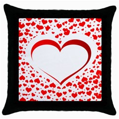 Love Red Hearth Throw Pillow Case (black)