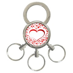 Love Red Hearth 3 Ring Key Chains