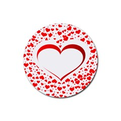 Love Red Hearth Rubber Round Coaster (4 Pack)