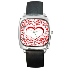 Love Red Hearth Square Metal Watch
