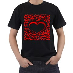 Love Red Hearth Men s T Shirt (black) (two Sided)