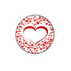 Love Red Hearth Hat Clip Ball Marker (4 Pack)
