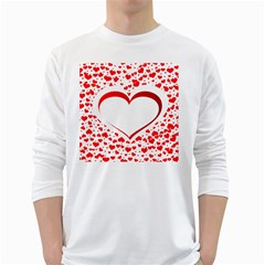 Love Red Hearth White Long Sleeve T Shirts