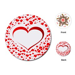 Love Red Hearth Playing Cards (round)