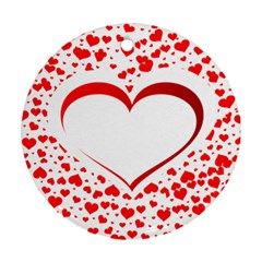 Love Red Hearth Round Ornament (two Sides)