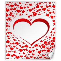Love Red Hearth Canvas 8  x 10