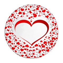 Love Red Hearth Round Filigree Ornament (two Sides)