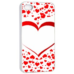 Love Red Hearth Apple Iphone 4/4s Seamless Case (white)