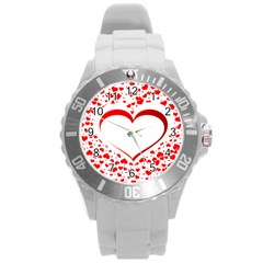 Love Red Hearth Round Plastic Sport Watch (l)
