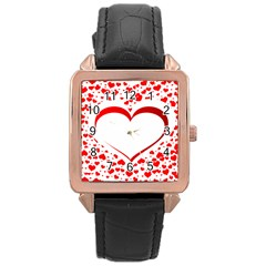 Love Red Hearth Rose Gold Leather Watch