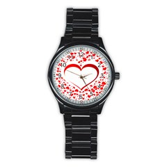 Love Red Hearth Stainless Steel Round Watch