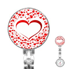 Love Red Hearth Stainless Steel Nurses Watch