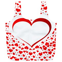 Love Red Hearth Full Print Recycle Bags (l)