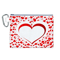 Love Red Hearth Canvas Cosmetic Bag (l)
