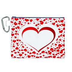 Love Red Hearth Canvas Cosmetic Bag (XL)