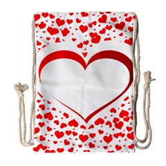 Love Red Hearth Drawstring Bag (Large)