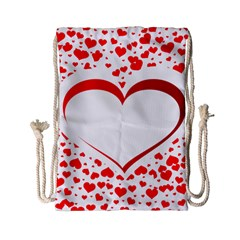 Love Red Hearth Drawstring Bag (small)