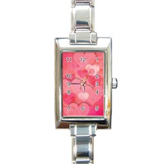 Hearts Pink Background Rectangle Italian Charm Watch