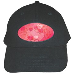 Hearts Pink Background Black Cap