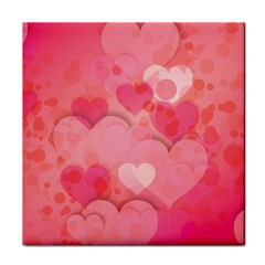 Hearts Pink Background Tile Coasters