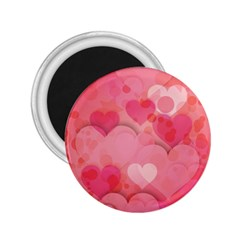 Hearts Pink Background 2.25  Magnets