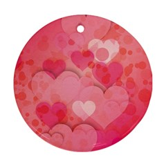 Hearts Pink Background Ornament (Round)