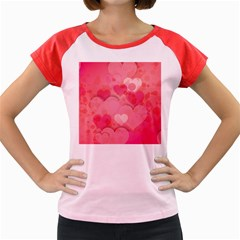 Hearts Pink Background Women s Cap Sleeve T Shirt