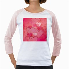 Hearts Pink Background Girly Raglans