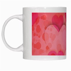 Hearts Pink Background White Mugs
