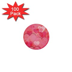 Hearts Pink Background 1  Mini Buttons (100 pack)