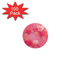 Hearts Pink Background 1  Mini Magnets (100 pack)