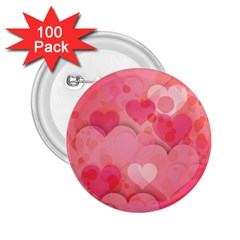 Hearts Pink Background 2 25  Buttons (100 Pack)