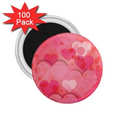 Hearts Pink Background 2 25  Magnets (100 Pack)
