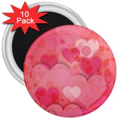 Hearts Pink Background 3  Magnets (10 Pack)